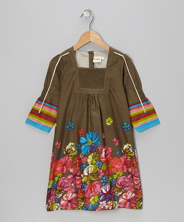 Take a look at this Olive Floral Shirred Dress - Toddler & Girls by Yo Baby on #zulily today!