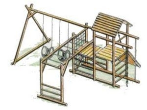 Tuff Playstructures - Wooden Jungle Gym, Playground Equipment, Bench
