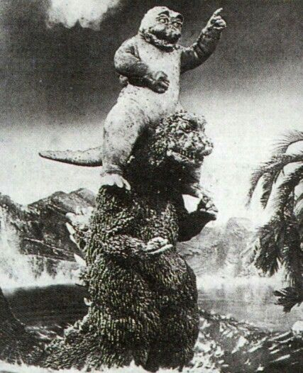 Son of Godzilla, complete with piggy back ride