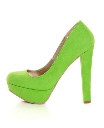 Lime Suede Platform Pumps $29
