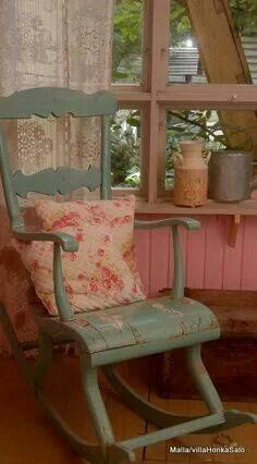 I love the shape of the rocking chair. It is unusual in the fact that it contours the back of the legs for comfort.