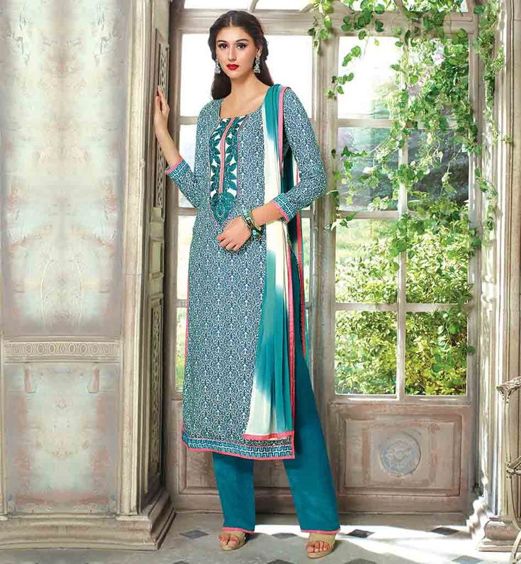 LATEST-DESIGNER-FROCK-SUITS-STYLISH-SALWAR-KAMEEZ-DESIGNS-OF-SUITS-FOR-LADIES-EYE-CATCHING-BLUE-COTTON-TOP-WITH-MATCHING-SALWAR-AND-SHADED-CHIFFON-DUPATTA #SUITSLATESTDESIGNERFROCK