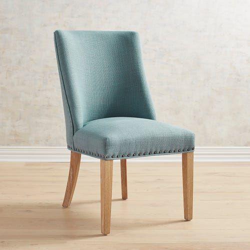 Corinne Cornflower Dining Chair with Natural Stonewash Wood