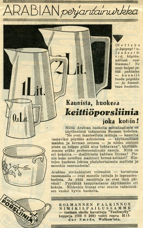 Arabia Finland, vintage / Keittiöporsliinia