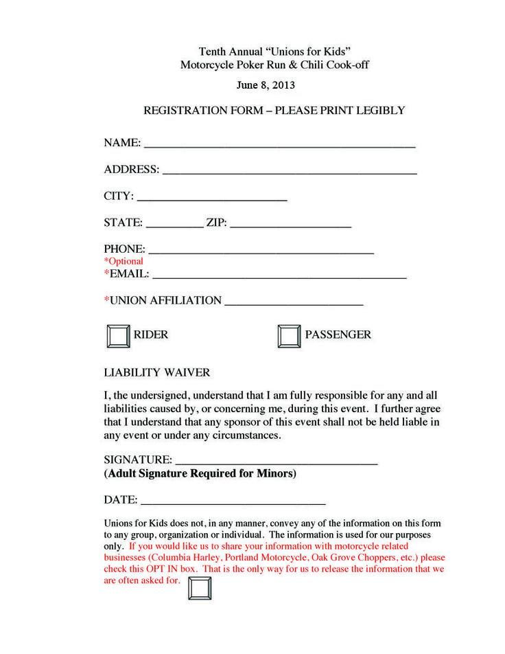 Poker Run Registration Form