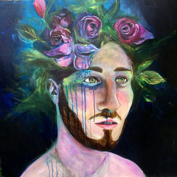 Acrylic, pastel, on wood