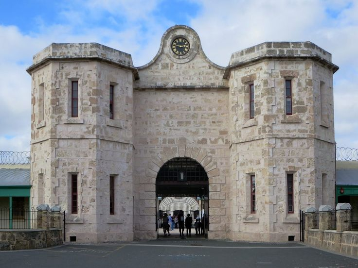 The gatehouse (1855) of Fremantle Prison in Fremantle, Western Australia, resembles the entrance to a 13th century English walled city or castle.