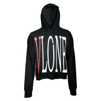 Vlone Black Hoodie Details White, Medium Weight cotton-fabric Pullover  Hooded Sweatshirt with Simulated