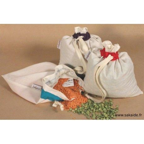 kit de 9 sacs pour des courses sans  emballage : pour l'épicerie sèche en vrac et les fuits et légumes. Sac en tissus biologique certifiés GOTS