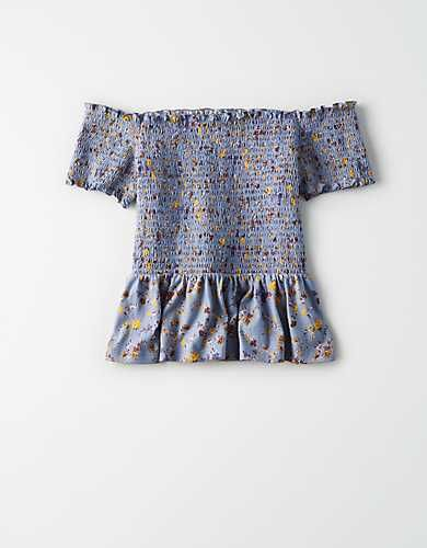 1285050c AE Off-The-Shoulder Smocked Peplum Floral T-shirt, Blue | AE shirts ...