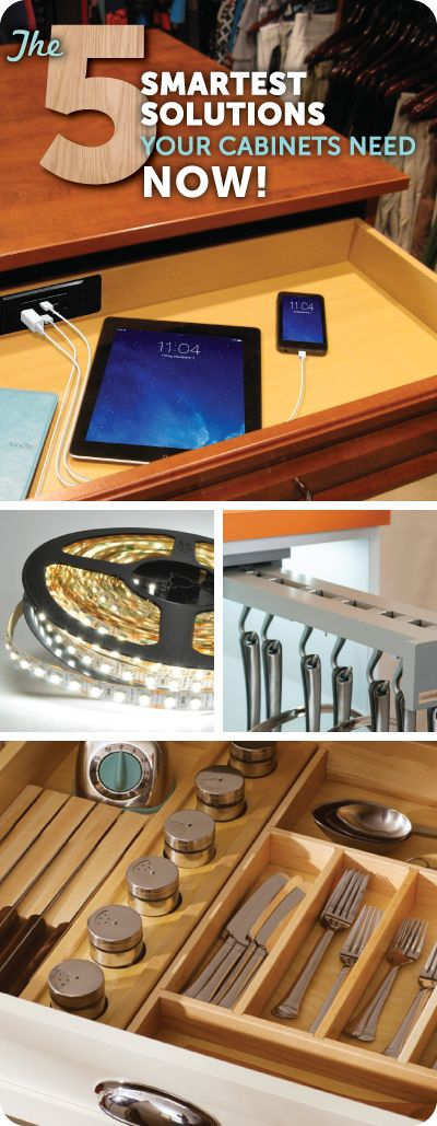 """The word """"cabinet"""" doesn't exactly connotate technical innovation–but perhaps it should. After all, we're living in the technology age so why aren't your cabinets? Learn about 5 of the smartest solutions for your cabinets and drawers, and where you can go to get in on the action."""
