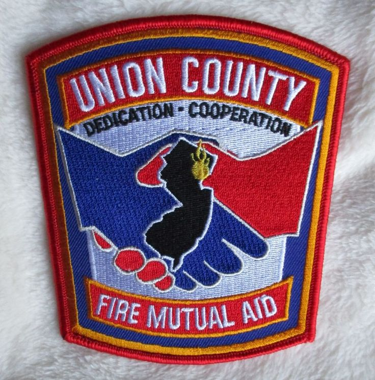 """Union County Fire Mutual Aid Patch New Jersey 4 3/8"""" x"""