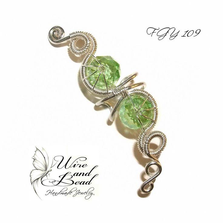Zöld üveg gyöngyös ezüstözött fülgyűrű