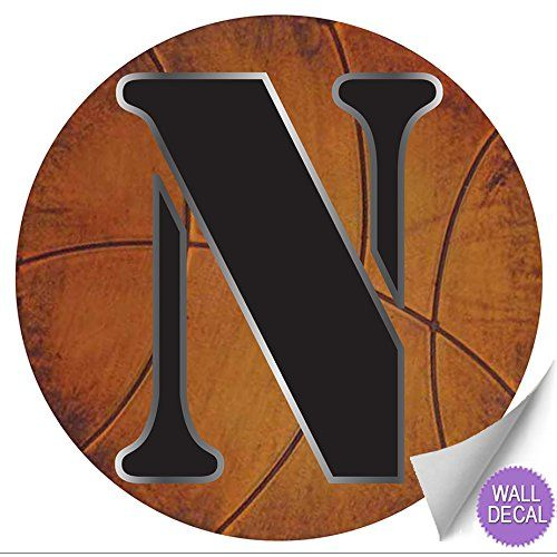 Wall Letters N Basketball Letter Stickers Alphabet Initial Vinyl Sticker Kid Decals Children Room Decor Baby Nursery Boys Bedroom Decorations Child Names Personalized Decal Graphic Sports Balls Girl