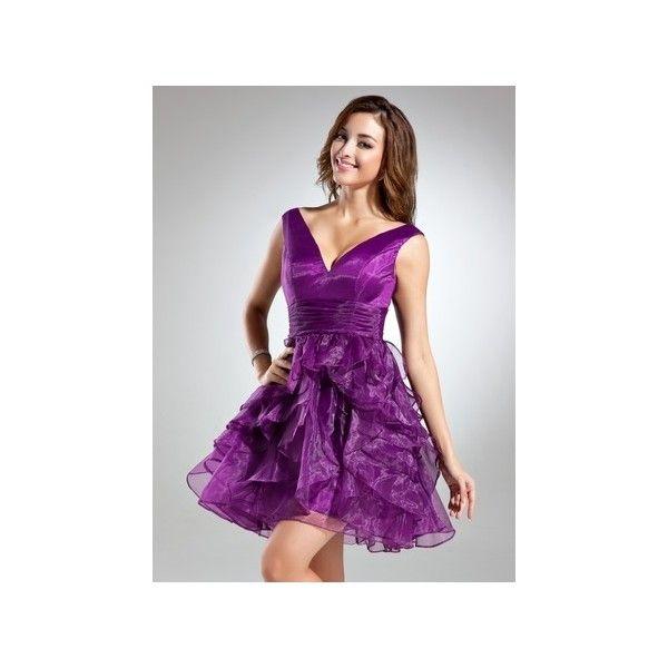 Grape A Line V Neck Short Mini Princess Organza Homecoming Dress... (225 BAM) ❤ liked on Polyvore featuring dresses, a line homecoming dresses, mini skirt dress, organza dress, short mini skirts and short mini dress