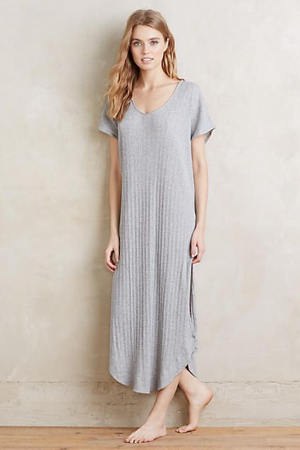Super soft grey nightgown. Perfect for Mother's Day. Skin Ribbed Sleep Gown