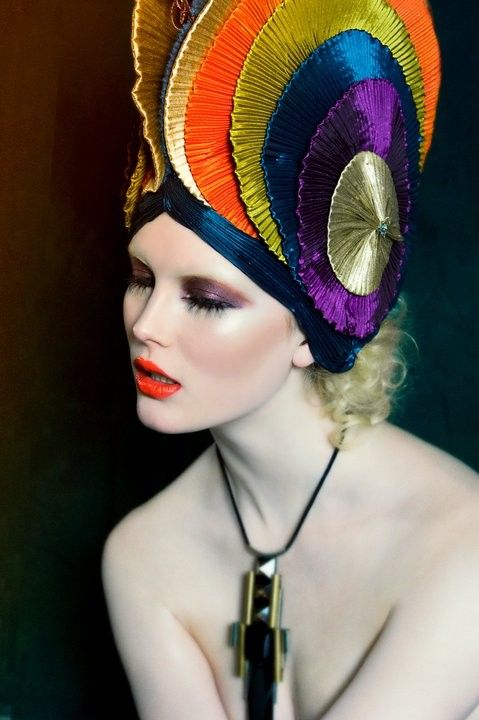 love this colourful one! Editorial headpiece.  Jewel toned, metallic, pleated circles.