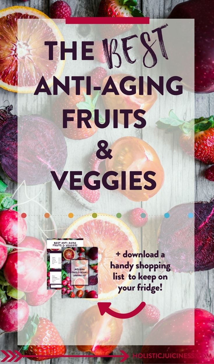"""The best anti-aging fruits and vegetables are right in your fridge. A lot of people think that the more """"exotic"""" produce is the best. That's not always true. #antiaging #foodguide #fruit #veggies #healthy"""