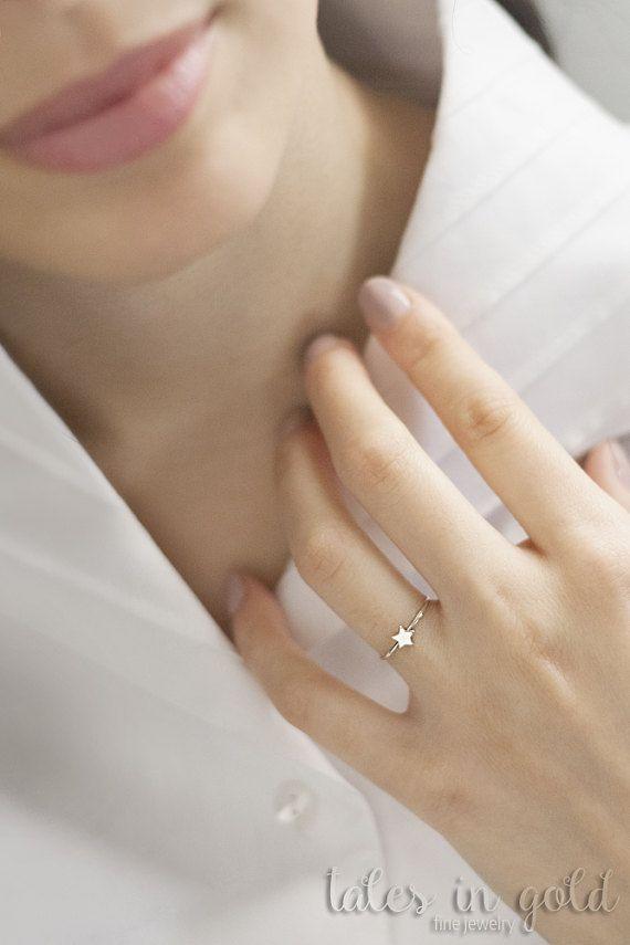 Gold Ring Star Ring 14 karat gold Ring Minimal by TalesInGold