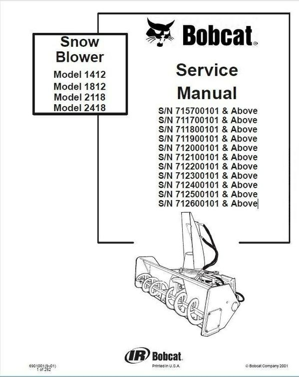 Bobcat 1412, 1812, 2118, 2418 Snowblower Service Repair