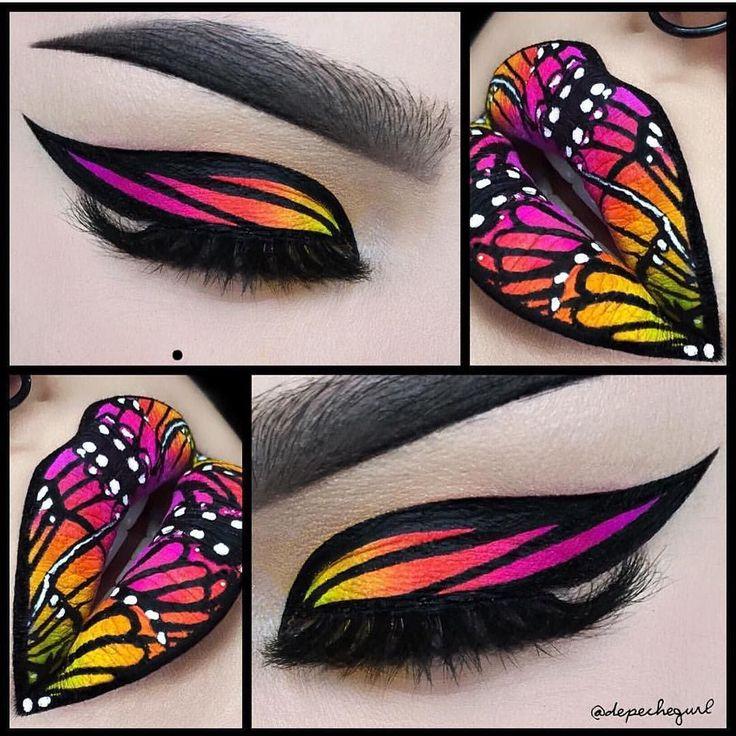 This makeup artist is incredible! Butterflies inspired by pop artist Lisa Frank by @depechegurl #hotonbeauty #hothairvids by hotonbeauty You can follow me at @JayneKitsch