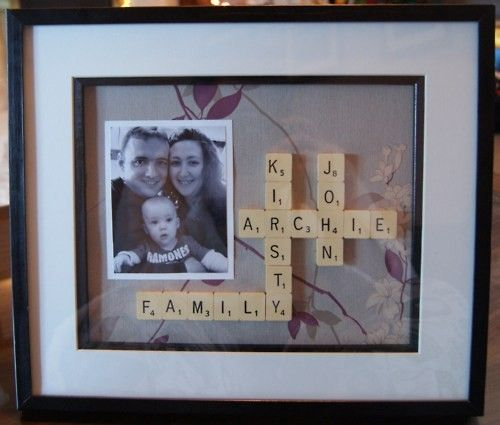 Picture frame with scrabble letters spelling names! so cute!