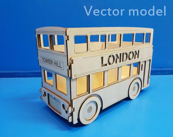 London Bus desk organizer set of 2 vector plans laser cut