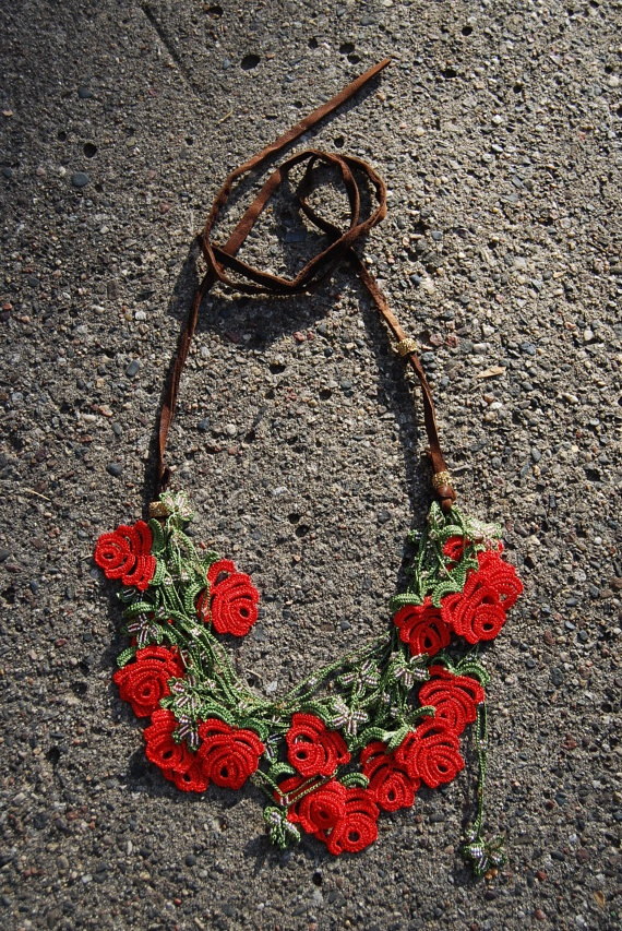 OOAK red green rose flower lace and leather by KisaKollections, $98.00