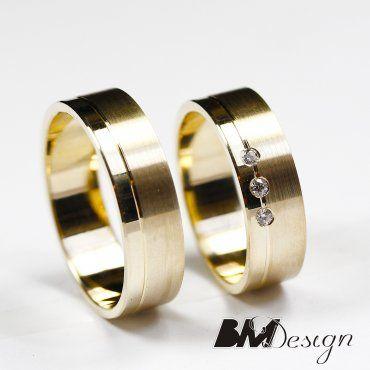 obrączki ślubne Rzeszów, obrączki płaskie klasyczne, z kamieniami Gold wedding rings