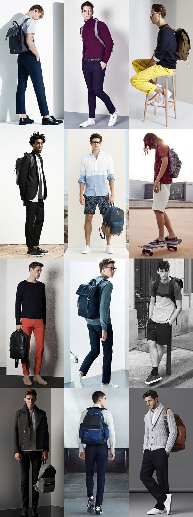 Men's Backpacks Outfit Inspiration Lookbook