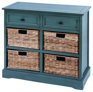 """28"""" Updated traditional wood cabinet console in blue gray with 4 natural sea grass wicker basket drawers featuring carved detailed panels."""