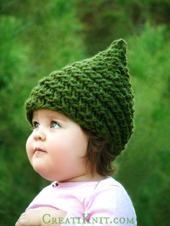 KNITTING PATTERN - Baby Gnome Hat Pattern - Sizes (0-3mo/3-6mo/12-24mo/24-48mo/5-10yr) Pattern Includes English, German, Spanish, French