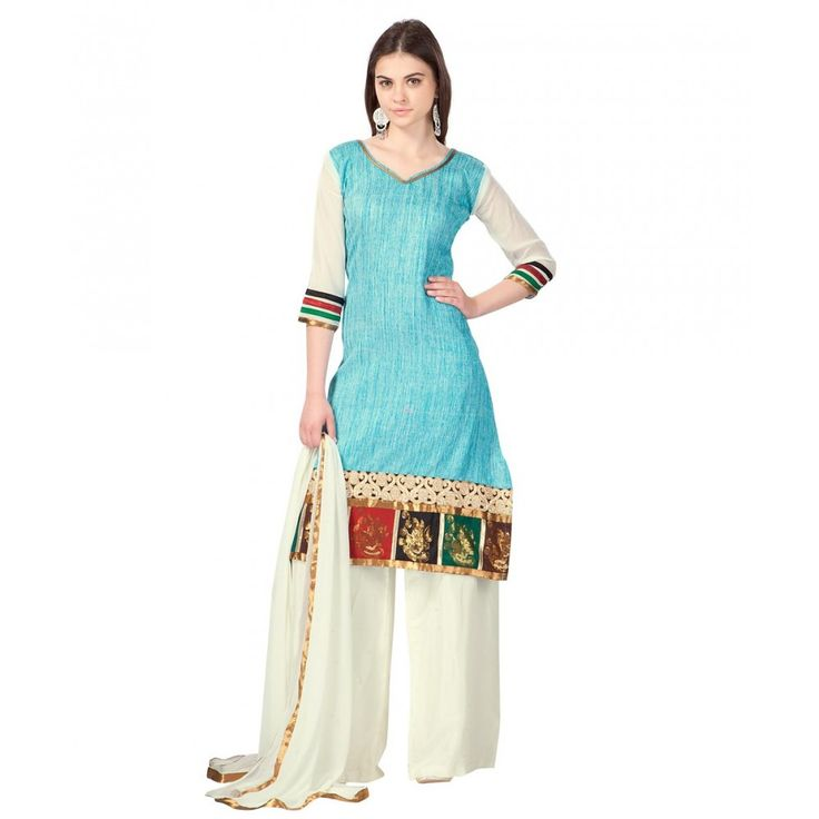 Turquoise Cotton Indian #Plazzo Kameez With Dupatta- $26.56