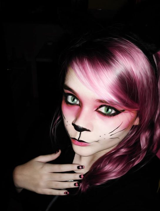 cheshire cat cosplay alice in zombieland pinterest halloween makeup ears and eyes. Black Bedroom Furniture Sets. Home Design Ideas