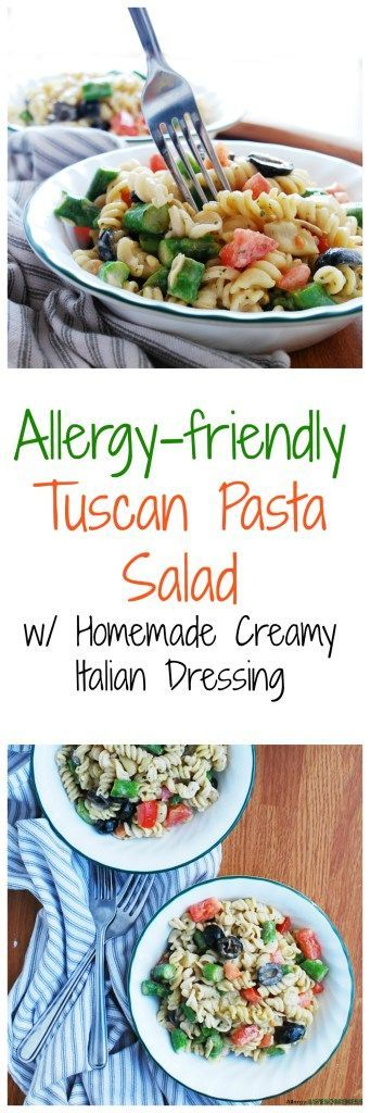 Allergy-friendly Tuscan Pasta Salad (Gluten, dairy, egg, soy, peanut & tree nut free; top-8-free; vegan) Recipe by AllergyAwesomeness.com  |allergy-friendly pasta| |top-8-free pasta| |gluten-free pasta salad| |dairy-free pasta salad| |egg-free pasta salad| |nut-free pasta salad|