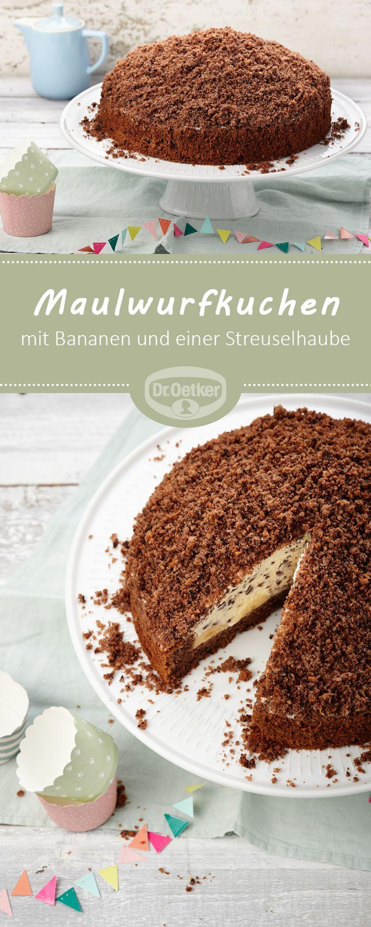 Maulwurfkuchen: Eine sahniger Kuchen mit Bananen und einer Streuselhaube #kuchen #torte