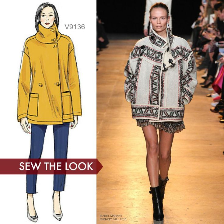 Sew the Look: Make a boxy jacket this fall that you can just throw on and go. Make it interesting and look for a boho-type fabric like this Isabel Marant jacket is made in. Vogue Patterns V9136.