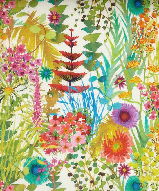 Botanical Garden by Liberty Art Fabrics Beautiful flower illustration and bright pop of colors.
