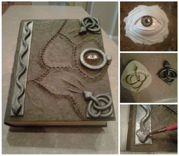 DIY Hocus Pocus craft- Winifred's Spellbook is made from a simple cardboard book box with detailing of paper clay and tissue paper, and a sculpted eye.