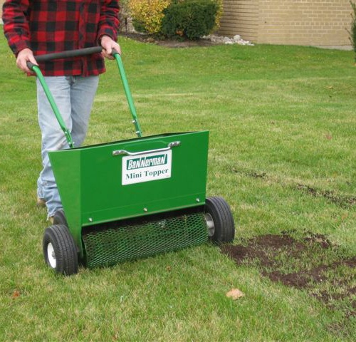 Backyard mini compost topper compost spreader made in for Lawn topsoil
