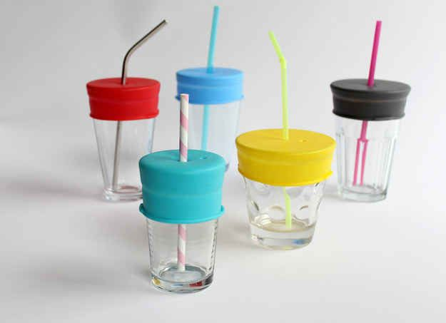 This plastic attachment that turns any cup or glass into a sippy cup.