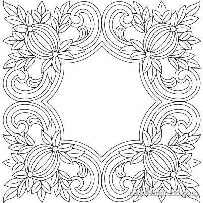 Free Hand Embroidery Pattern: Pomegranate Corners