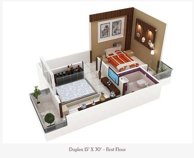 450 Square Feet Double Floor Duplex Home Plan Acha Homes Small
