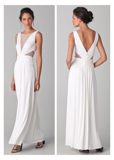 BCBG MAXAZRIA Sleek Draped Magdalena White Jersey Dress Gown XS | eBay