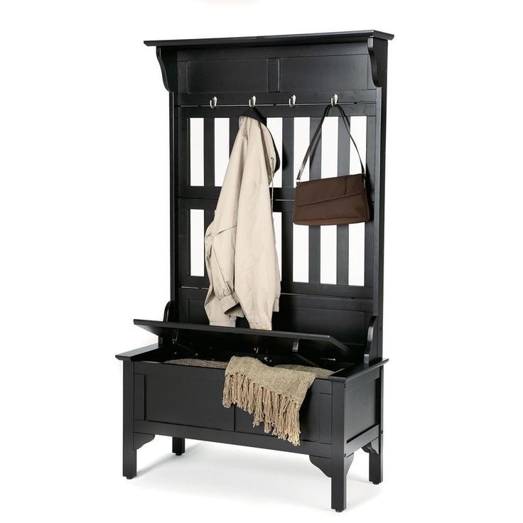 Home Styles Hoisin Hall Tree Storage Bench Dimensions: 35.75W x 16D x 63H inches