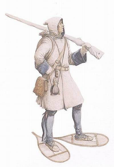 """Soldier dressed for a winter campaign, between 1690 and 1700 - """"This is how a soldier of the Compagnies franches de la Marine would have looked when on the march during a winter expedition between 1690 and 1700. Note his mittens, snowshoes and hooded capot. Reconstruction by Francis Back."""""""