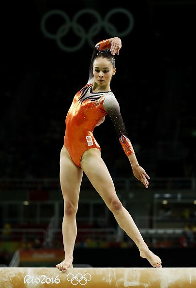 #RIO2016 Eythora Thorsdottir of the Netherlands competes on the balance beam during the Artistic Gymnastics Women's Team Final on Day 4 of the Rio 2016...