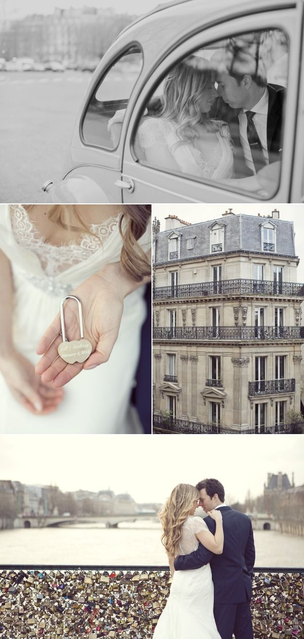 Charming Paris Elopement...big wedding, or tiny elopement and honeymoon with a party later. No clue- cool idea.