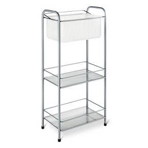 Instantly increase bathroom or bedroom storage space with the Room Essentials Storage Tower with Removable Tote. Great for dormitories or bathrooms with limited storage options, this storage tower includes three two vented shelves and a removable vented basket with handle that doubles as a shower caddy. Steel rails hold the pieces in place for a sleek touch.