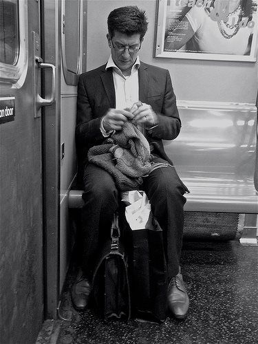 Knitting on the L train in New York